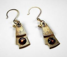 Steampunk Earrings - Vintage Pocket Watch Parts TOPAZ - Steampunk Jewelry by edmdesigns