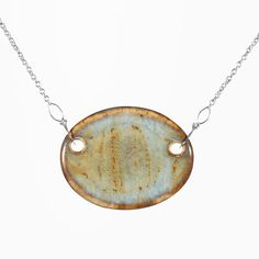 """handcrafted ceramic pendant on a 16"""" necklace with lobster clasp, chain and findings are all stainless steel"""