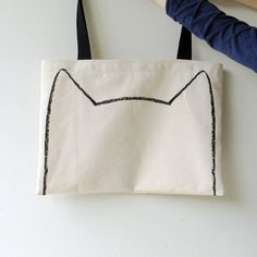 Big Kitty Canvas Tote Bag $22.00, via Etsy.