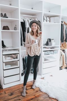 So excited to share my custom IKEA PAX Wardrobe Closet with you guys today! We put it up right before Christmas, and we even filmed a vi Ikea Pax Closet, Ikea Closet Organizer, Ikea Pax Wardrobe, Closet Hacks, Walk In Wardrobe, Perfect Wardrobe, Walk In Closet, Closet Organization, Wardrobe Storage
