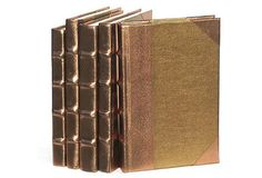 S/5 Metallic Spine Books, Gold on OneKingsLane.com