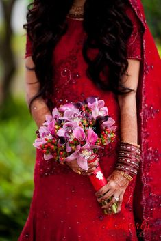 Suhaag Garden Indian Wedding Bridal Bouquet West Palm Beach Florida Hypericum Berries Pink Cymbidium Orchids