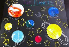 Your kiddos will be over-the-moon for this Plate Smoosh Planet Painting + Crafts project! Cardboard Rocket, Planet Crafts, Calm Down Bottle, Planet Painting, Window Markers, All Planets, Hanging Banner, Water Beads, Yellow Painting