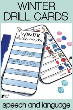 These grab-n-go cards for your Winter speech therapy sessions will make therapy during the Winter season easy for the busy SLP! Targets language, articulation, and phonological processes. Winter language concepts include WH questions, categories, following directions, pronouns, verbs, and more! Articulation and phonological process themed word lists included! Make Winter speech and language therapy sessions FUN with these interactive activities! Click for more info.