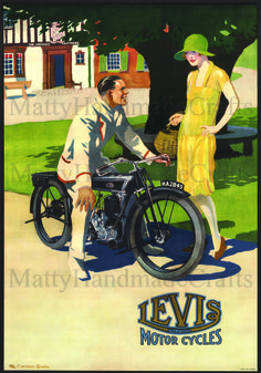 Levis Motorcycles 1930s Print by mattyhandmadecrafts on Etsy, $25.00