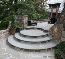 Round concrete steps with natural stone. Concrete Patios, Concrete Front Steps, Cement Patio, Patio Steps, Outdoor Steps, Patio Design, Garden Design, Garden Stairs, Stone Masonry
