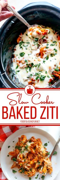 This Slow Cooker Baked Ziti recipe is the perfect dinner recipe for year-round cooking. It's great for weeknight dinners and for company! Plus, it tastes pretty amazing–I mean just look at all of that melty cheese!