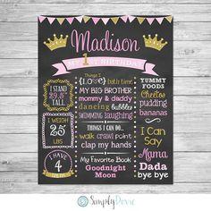 First Birthday Chalkboard Printable,  Princess Birthday, First Birthday Chalkboard Sign