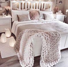 White And Pink Bedroom #homedecor
