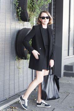 Black blazer, suit, and Adidas for work | theglitterguide.com