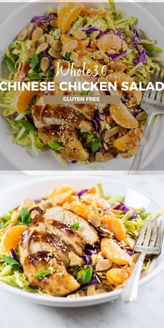 Healthy Recipes Healthy Paleo Chinese Chicken Salad, full of crunch, with sesame marinated chicken and a creamy tangy dressing. The perfect Chicken Salad Whole30 Chicken Salad, Chicken Salad Recipes, Salad Chicken, Chicken Sandwich, Shrimp Recipes, Healthy Salads, Healthy Eating, Paleo Recipes, Cooking Recipes