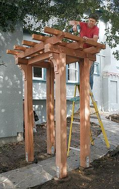 Craftsman-style Pergola - A step-by-step guide from FineHomebuilding Magazine.a Craftsman-style Pergola - A step-by-step guide from FineHomebuilding Magazine. Diy Pergola, Building A Pergola, Outdoor Pergola, Wooden Pergola, Outdoor Decor, Pergola Ideas, Arbor Ideas, Pergola Roof, Building Plans
