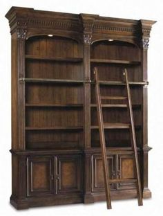 bookseller shelves: because if I'm going to have a real library, why not get a ladder to help me reach the top shelves?