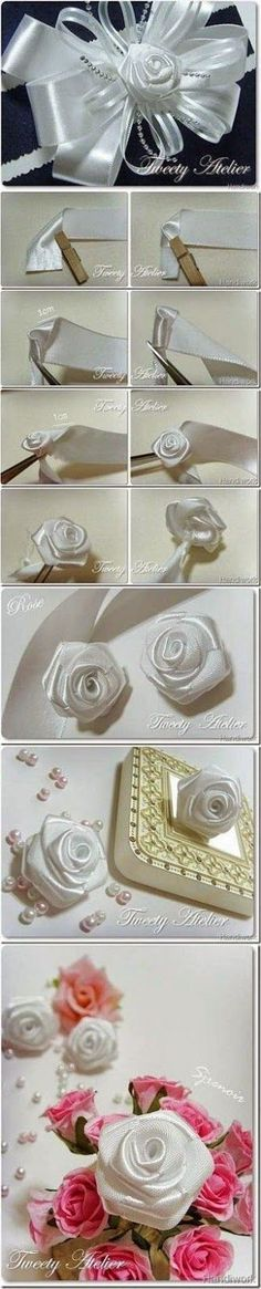 This is the classic way to make ribbon rose, and you can use this technique with fabric scraps, too. Materials you may need: Ribbon Cloth pin Tweezers Ribbon Art, Diy Ribbon, Fabric Ribbon, Ribbon Crafts, Flower Crafts, Ribbon Bows, Fabric Crafts, Organza Ribbon, Diy Crafts
