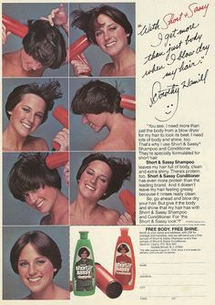 1978 ad: Short & Sassy Shampoo and Conditioner - Anyone else remember the classic Dorothy Hamill 'do? Travel Hairstyles, Vintage Hairstyles, Trendy Hairstyles, Feathered Hairstyles, Vintage Ads, Vintage Advertisements, Retro Ads, Vintage Vibes, Dorothy Hamill Haircut