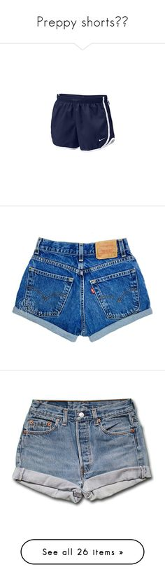 """""""Preppy shorts❤️"""" by lovelyelegantgirl ❤ liked on Polyvore featuring shorts, athletic shorts, bottoms, pants, grey, women's clothing, ripped denim shorts, ripped jean shorts, vintage high waisted shorts and distressed jean shorts"""