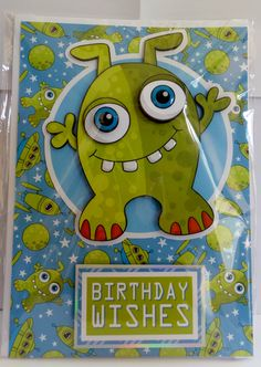 alien with glossy eye's and teeth and glittered background with hand made envelope Glossy Eyes, How To Make An Envelope, Cute Characters, A5, Birthday Wishes, Teeth, Kids Rugs, Handmade, Decorated Notebooks