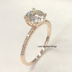 Round Forever Brilliant Moissanite Engagement Ring Pave Diamond Wedding 14K Rose Gold 6.5mm - Lord of Gem Rings - 1