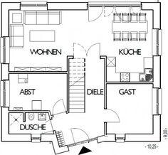 Stadtvilla Grundriss Erdgeschoss mit 70,29 m²
