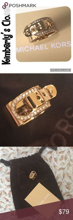 🛍MICHAEL KORS Buckle Ring🛍 Gold-tone MICHAEL KORS buckle ring with crystal accents.  Michael Kors jewelry pouch and care booklet included.  Only worn a couple of times - excellent condition.  There are a few very light and barely noticeable scratches on the back of the band (see photos). Michael Kors Jewelry Rings