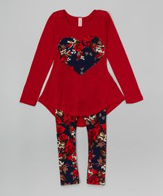This Red Floral Heart Tunic & Leggings - Girls by Maya Fashion is perfect! #zulilyfinds