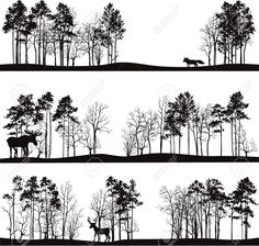 Set Of Different Landscapes With Pine Trees And Wild Animals,.. Royalty Free Cliparts, Vectors, And Stock Illustration. Image 40619106.