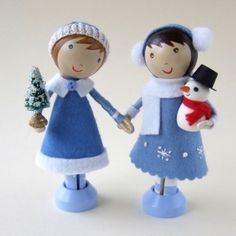 Wee Cute clothespin dolls and cake toppers