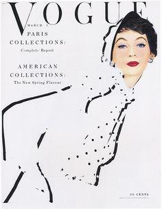 Vogue cover --- March 1, 1953. Model: Dovima. Photo: Erwin Blumenfeld.