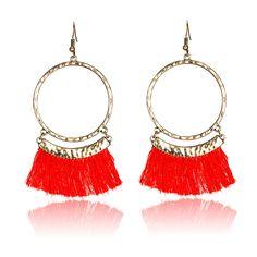 69c6a2e7ded Round dangling pendant earrings woman 2017 Bohemian ethnic vintage tassel  earring fringe fabric bijoux femme boucle