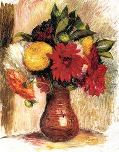 Een boeket bloemen in een aardewerk kruik, van de Franse schilder Pierre-Auguste Renoir