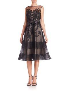 Teri Jon by Rickie Freeman - Lace Illusion Sleeveless Dress