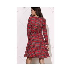 Vintage Round Neck Long Sleeve Plaid Self Tie Dress For Women (30 BAM) ❤ liked on Polyvore featuring dresses, self tie dress, tartan dress, red tartan dress, red tartan plaid dress and round neckline dress