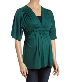Loving this Green Maternity Empire-Waist Top - Plus Too on #zulily! #zulilyfinds
