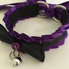Purple and Black Kitten Play Collar - BDSM Slave Maid KittenPlay PetPlay Neko by TheFlirtyKitten on Etsy