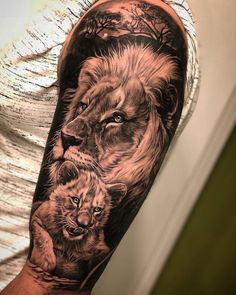 Lion tattoos hold different meanings. Lions are known to be proud and courageous creatures. So if you feel that you carry those same qualities in you, a lion tattoo would be an excellent match Lion Cub Tattoo, Cubs Tattoo, Lion Head Tattoos, Mens Lion Tattoo, Lion Tattoo Design, Leo Tattoos, Tiger Tattoo, Tattoo Designs Men, Tattoos For Guys