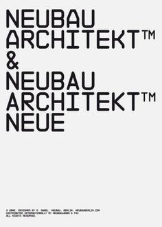 Neubau / NB Architekt & NB Architekt Neue / Typeface /...