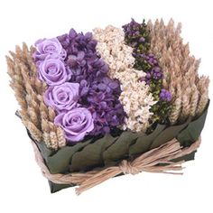 lavenders and purples, roses, hydrangeas, statuse and wheats,dried flowers for home