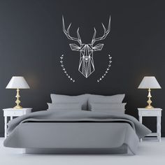 Bedroom Wall Decal: Geometric Deer and Antlers (20.00 USD) by NaturesRhapsody
