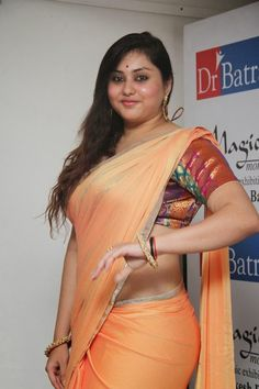 All orange saree aunty nude