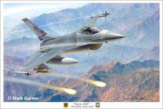 Fighting Falcon Falcon AMU, Aviation Art by Mark Karvon