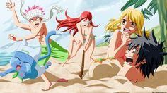 Anime Beach Happy Natsu Erza Gray Lucy Funny HD Wallpaper