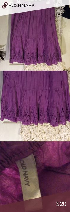 Purple eyelet skirt In excellent used condition? A small Old Navy Skirts Midi
