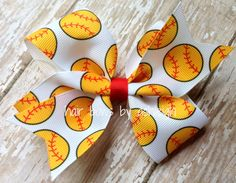 Red and Golden Yellow Softball Hair BowWith by HairBowsByAshleigh