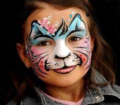 Knap tijgertje schmink / face paint Pretty tiger mask www.hierishetfeest.com