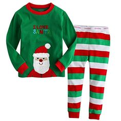 Taiycyxgan Baby Jungen Mädchen 2-teilig Schlafanzug Pyjama Kinder Baumwolle Cartoon Streifen Langarm Pyjama Weihnachten Rot Grün