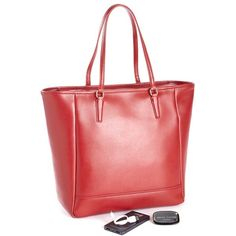 Royce Saffiano Leather RFID Blocking 24 Hour Tote Bag - Red ($500) ❤ liked on Polyvore featuring bags, handbags, tote bags, ipad tote, red handbags, red tote purse, color block purses and red purse