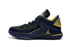 058daaa59a4e 2017 Air Jordan 32 Low Michigan PE Navy Blue Yellow Shipping-2 Jordan Shoes  For