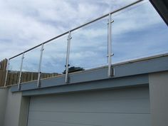 side mounted glass balustrade - Google Search Steel Balustrade, Glass Balustrade, Glass Railing, Timber Deck, Flat Roof, Raised Beds, Shelter, Channel, Image