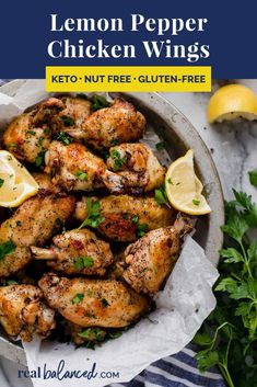 Do you love chicken wings? How about lemon pepper wings baked to perfection? These lemon pepper keto Keto Chicken Wings, Lemon Pepper Chicken Wings, Chicken Wing Recipes, Chicken Breasts, Chicken Tenders, Baked Chicken, Low Carb Appetizers, Appetizer Recipes, Dinner Recipes