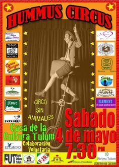 Riviera Maya Events : May 4 Hummus Circus in Tulum!  http://www.buyplaya.com/NEW_Events_Calendar/page_2487410.html